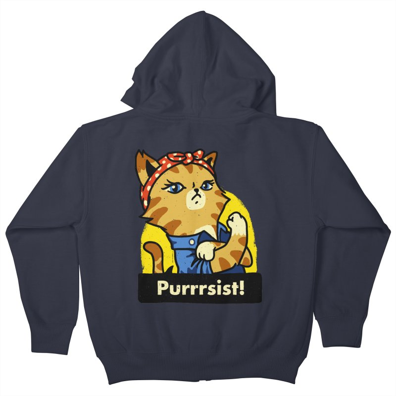 Purrrsist! (version 3) Kids Zip-Up Hoody by Vó Maria's Artist Shop