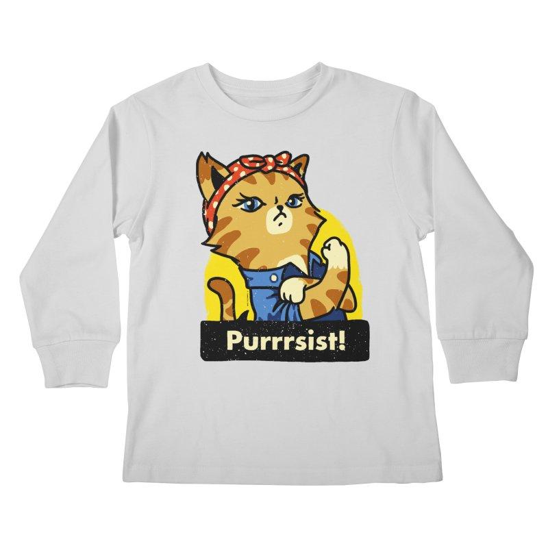Purrrsist! (version 3) Kids Longsleeve T-Shirt by Vó Maria's Artist Shop
