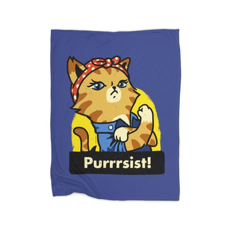 Purrrsist! (version 3) Home Blanket by Vó Maria's Artist Shop
