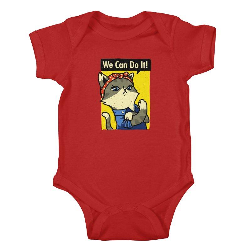Purrsist! We Can Do It! Kids Baby Bodysuit by Vó Maria's Artist Shop