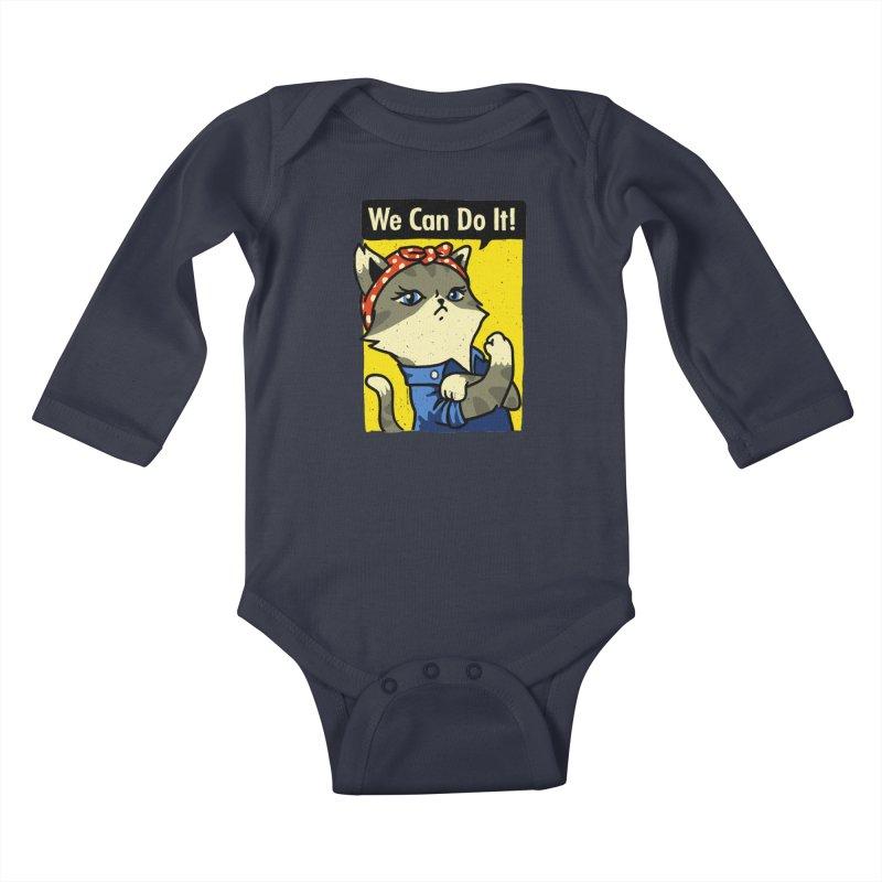 Purrsist! We Can Do It! Kids Baby Longsleeve Bodysuit by Vó Maria's Artist Shop