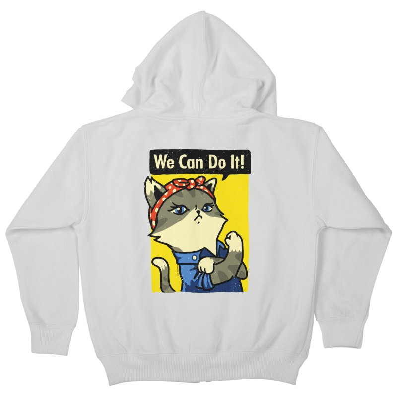 Purrsist! We Can Do It! Kids Zip-Up Hoody by Vó Maria's Artist Shop