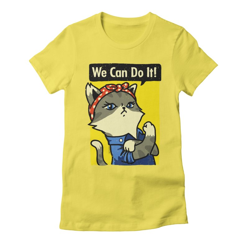 Purrsist! We Can Do It! Women's Fitted T-Shirt by Vó Maria's Artist Shop