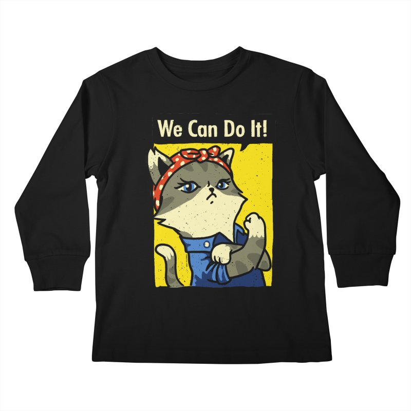 Purrsist! We Can Do It! Kids Longsleeve T-Shirt by Vó Maria's Artist Shop