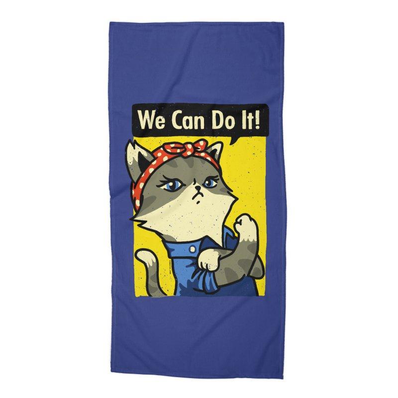 Purrsist! We Can Do It! Accessories Beach Towel by Vó Maria's Artist Shop