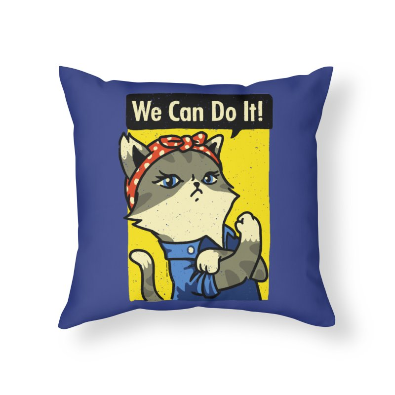 Purrsist! We Can Do It! Home Throw Pillow by Vó Maria's Artist Shop