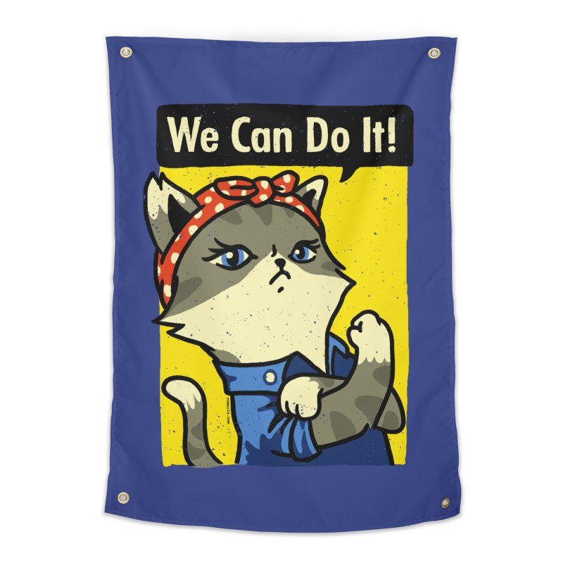 Purrsist! We Can Do It! Home Tapestry by Vó Maria's Artist Shop