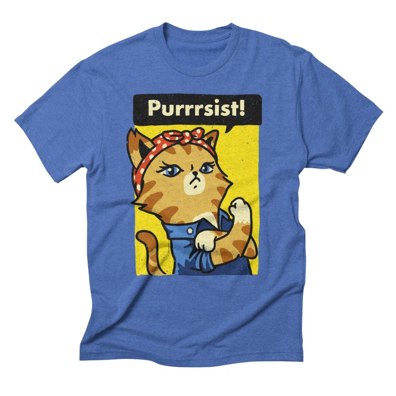 Purrrsist! Men's Triblend T-shirt by Vó Maria's Artist Shop