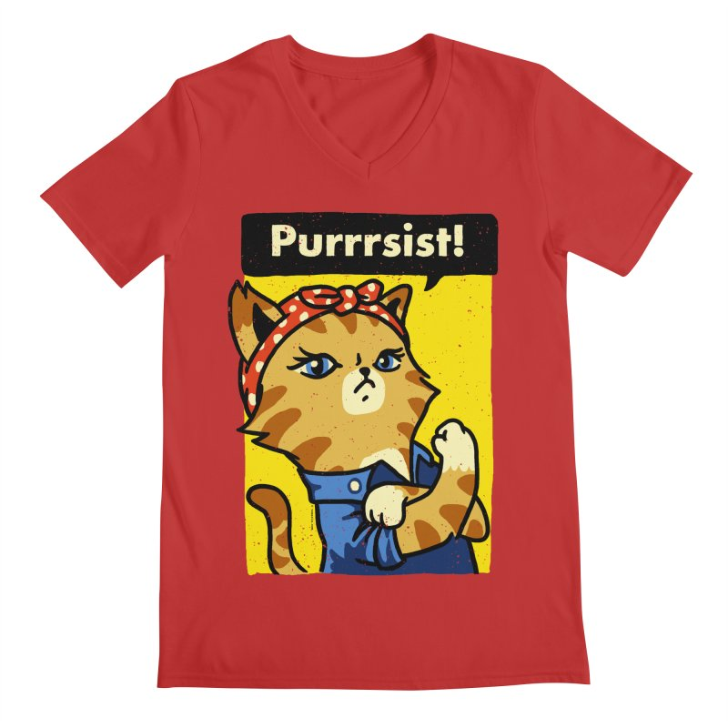 Purrrsist! Men's V-Neck by Vó Maria's Artist Shop