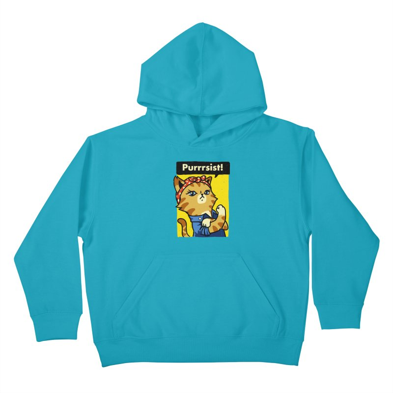 Purrrsist! Kids Pullover Hoody by Vó Maria's Artist Shop