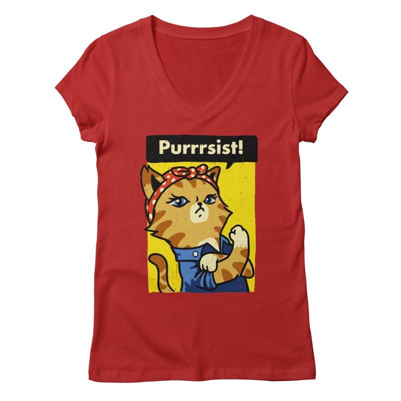 Purrrsist! Women's V-Neck by Vó Maria's Artist Shop