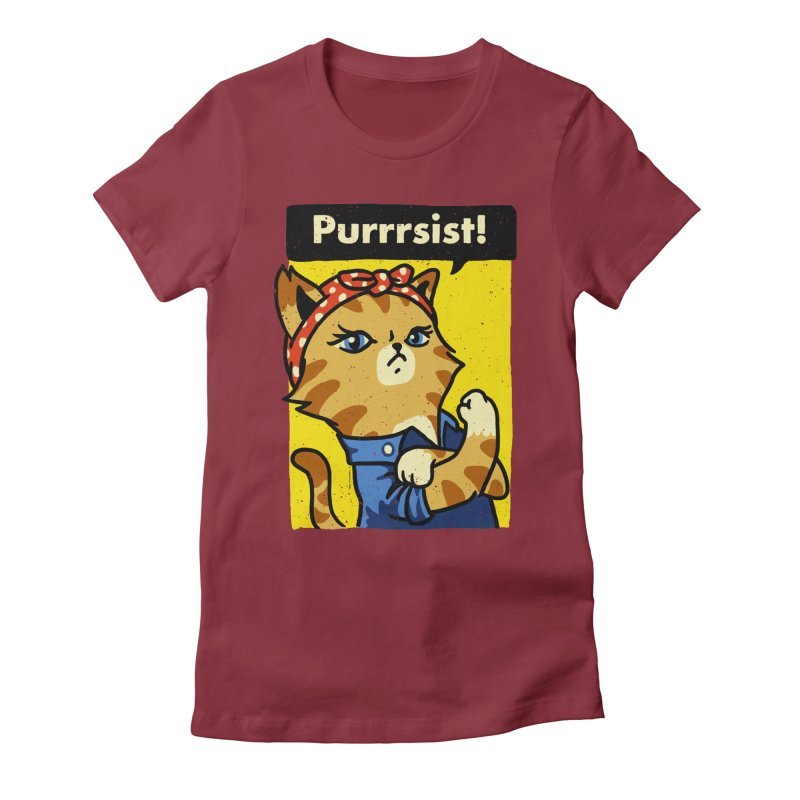 Purrrsist! Women's Fitted T-Shirt by Vó Maria's Artist Shop
