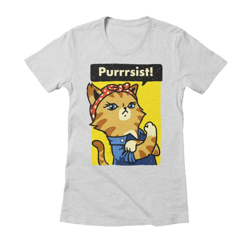 Purrrsist! Women's Fitted T-Shirt by Vó Maria's Artist Shop