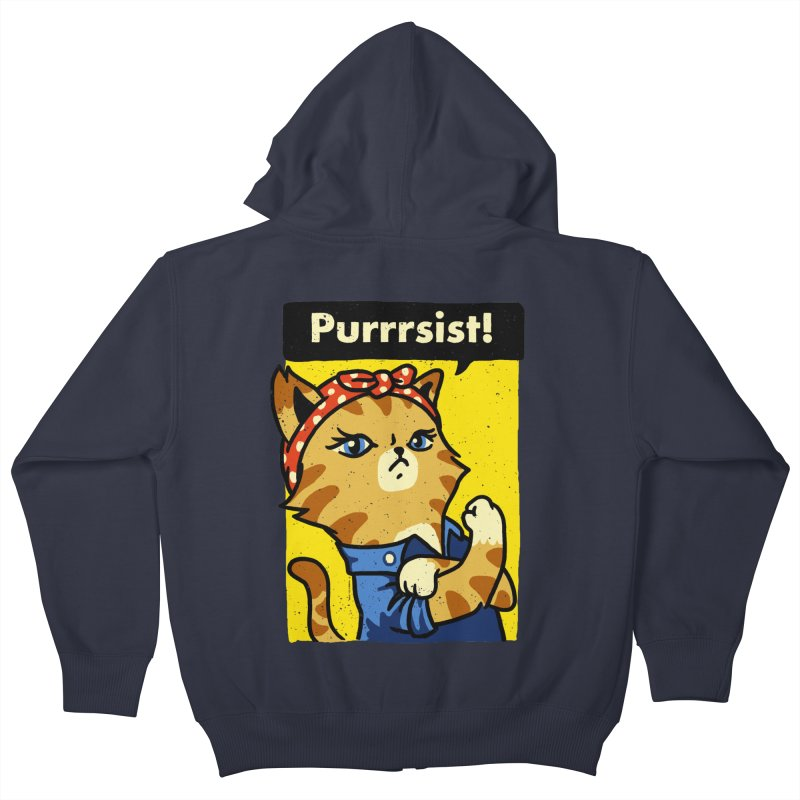 Purrrsist! Kids Zip-Up Hoody by Vó Maria's Artist Shop