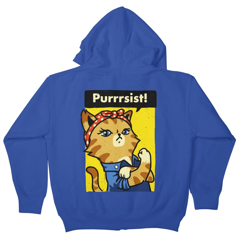 Purrrsist! Kids Zip-Up Hoody by Vó Maria's Artist Shop