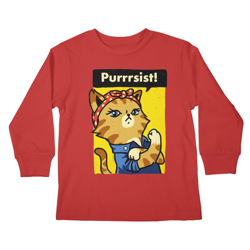 Purrrsist! Kids Longsleeve T-Shirt by Vó Maria's Artist Shop
