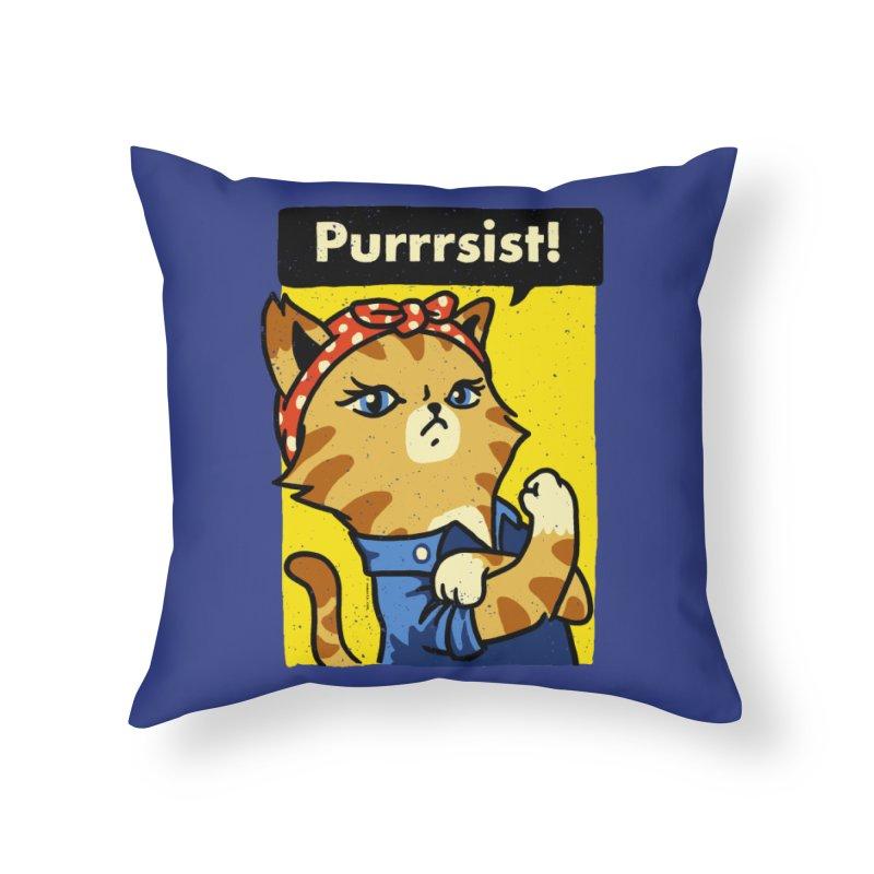 Purrrsist! Home Throw Pillow by Vó Maria's Artist Shop