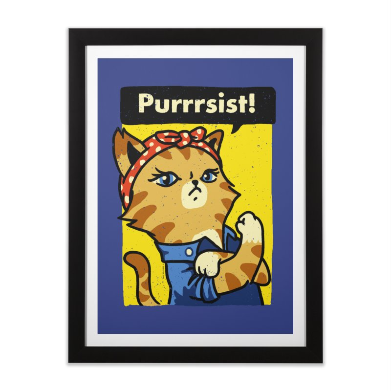 Purrrsist! Home Framed Fine Art Print by Vó Maria's Artist Shop