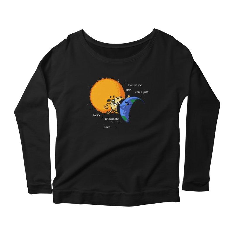 Total Solar Eclipse - Excuse Me Women's Scoop Neck Longsleeve T-Shirt by Vó Maria's Artist Shop