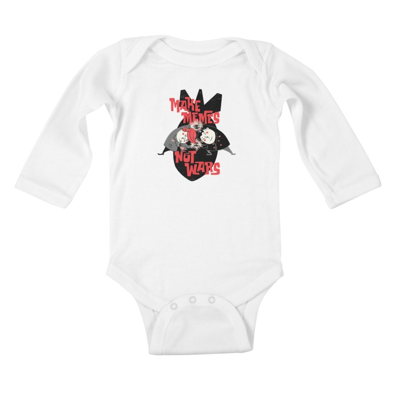 Make Memes, Not Wars Kids Baby Longsleeve Bodysuit by Vó Maria's Artist Shop