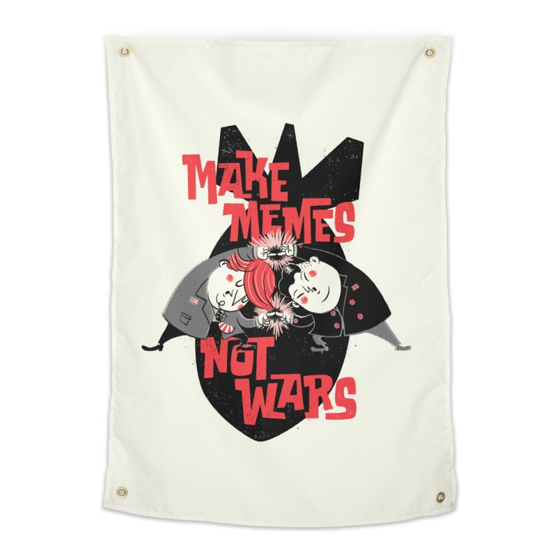 Make Memes, Not Wars Home Tapestry by Vó Maria's Artist Shop