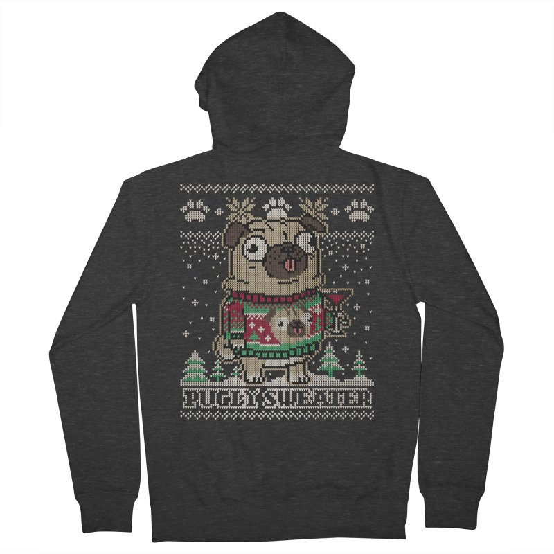 Pugly Sweater Men's French Terry Zip-Up Hoody by Vó Maria's Artist Shop