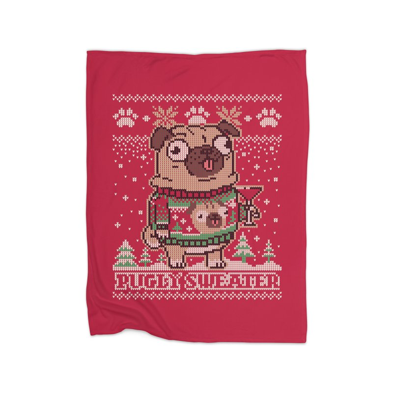 Pugly Sweater Home Fleece Blanket Blanket by Vó Maria's Artist Shop