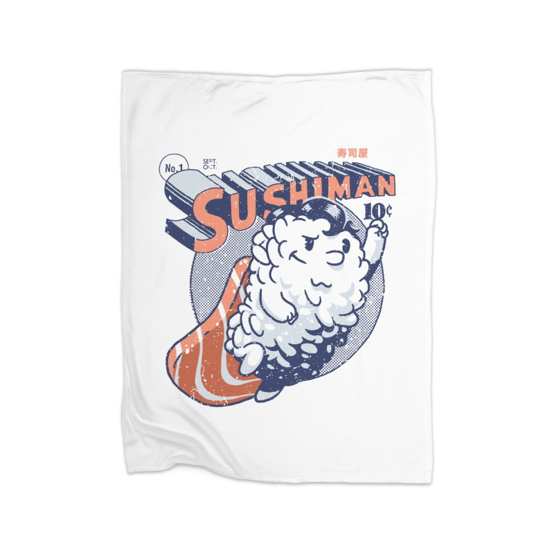 Sushiman Home Fleece Blanket Blanket by Vó Maria's Artist Shop