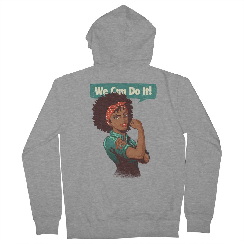We Can Do It! Men's French Terry Zip-Up Hoody by Vó Maria's Artist Shop