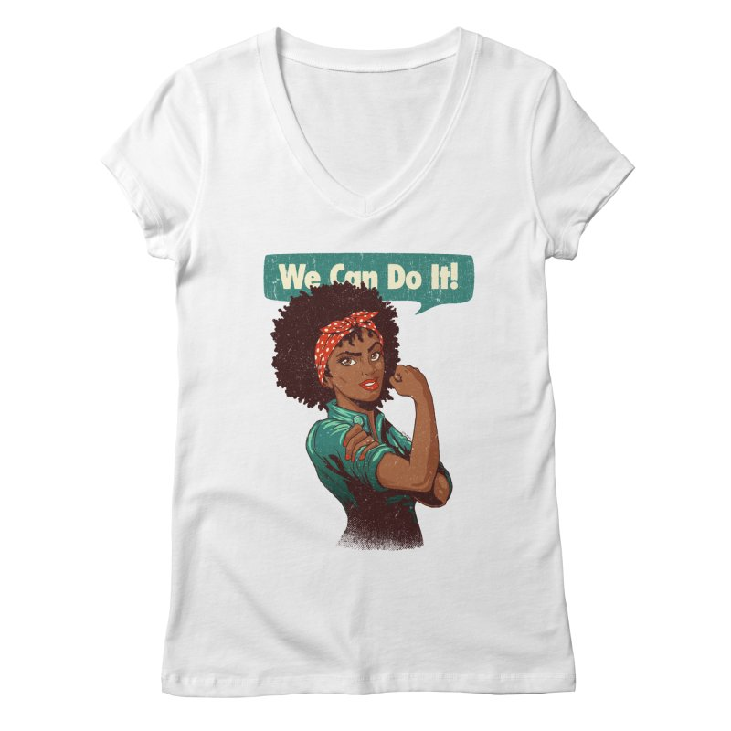 We Can Do It! Women's Regular V-Neck by Vó Maria's Artist Shop