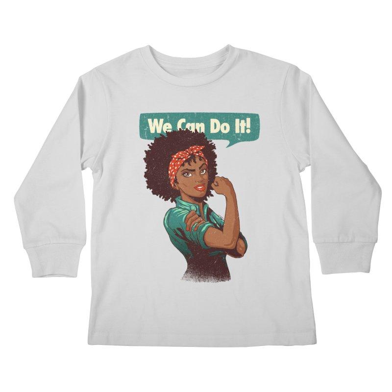 We Can Do It! Kids Longsleeve T-Shirt by Vó Maria's Artist Shop