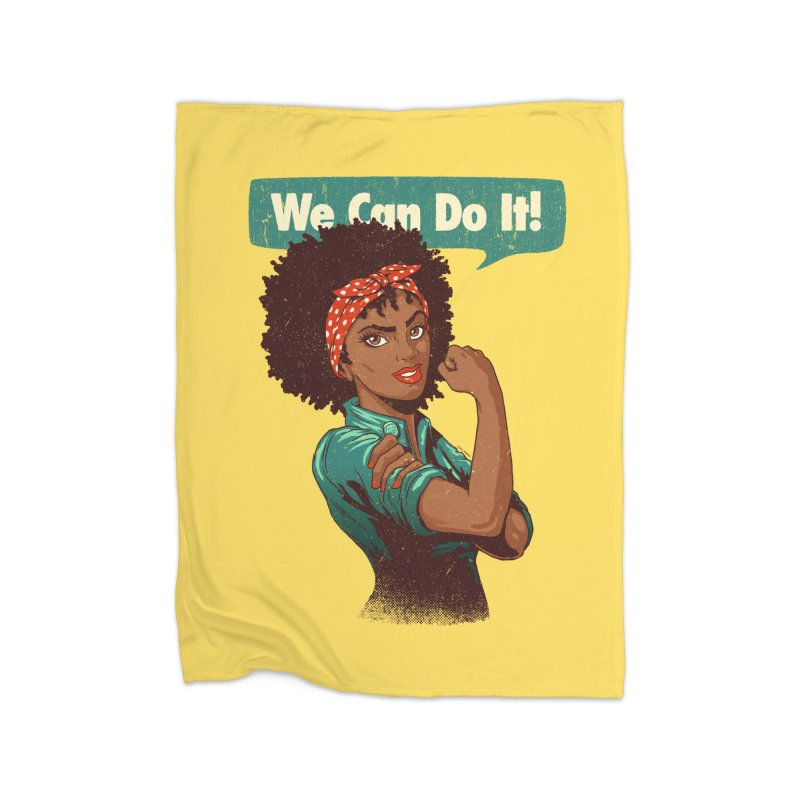 We Can Do It! Home Fleece Blanket Blanket by Vó Maria's Artist Shop