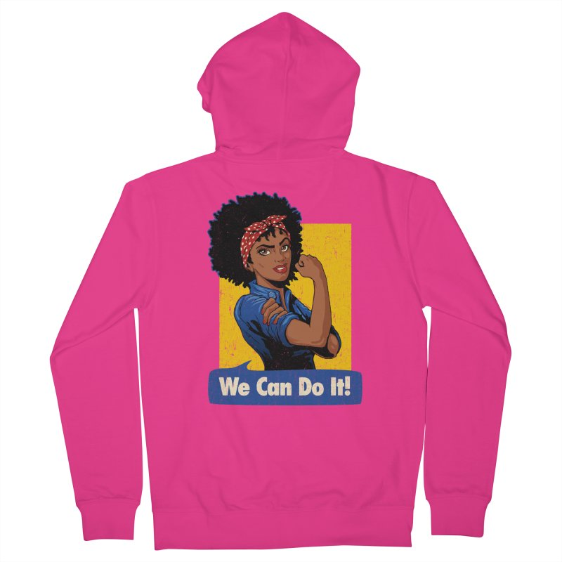 We Can Do It! V2 Men's French Terry Zip-Up Hoody by Vó Maria's Artist Shop