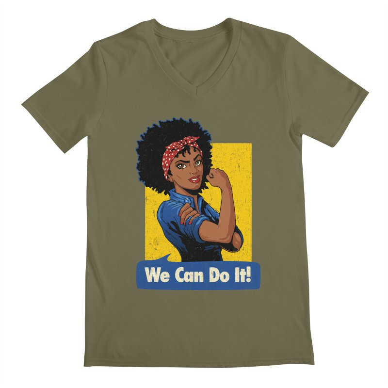 We Can Do It! V2 Men's Regular V-Neck by Vó Maria's Artist Shop
