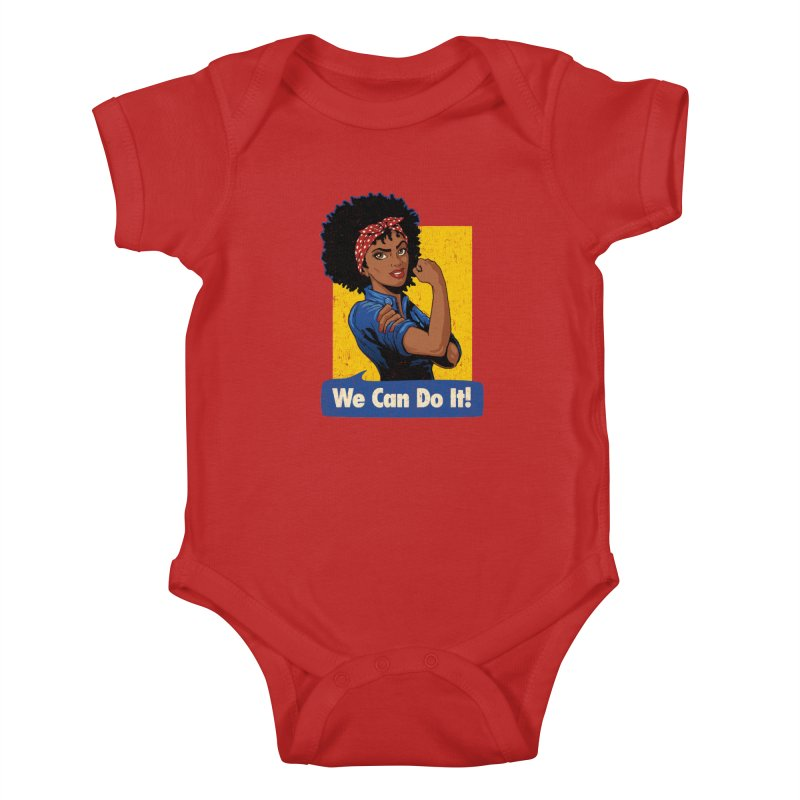 We Can Do It! V2 Kids Baby Bodysuit by Vó Maria's Artist Shop