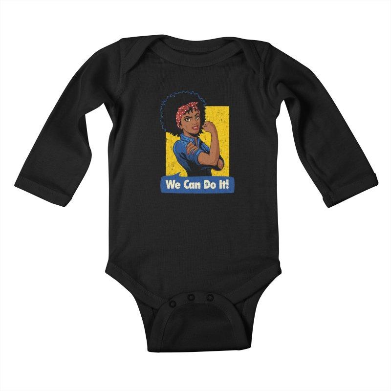 We Can Do It! V2 Kids Baby Longsleeve Bodysuit by Vó Maria's Artist Shop