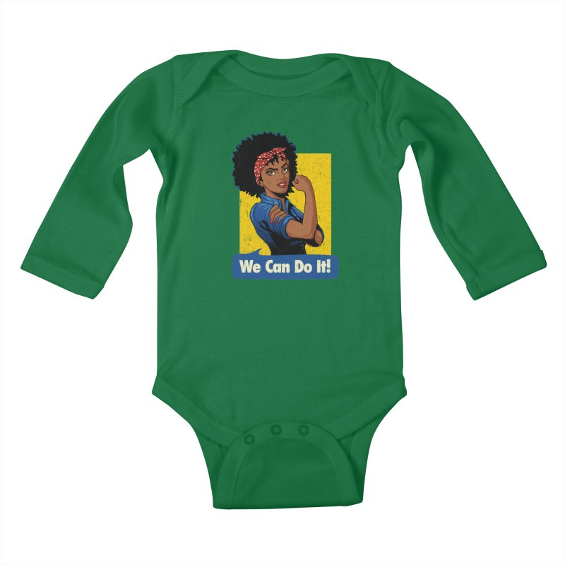 We Can Do It! V2 Kids Baby Longsleeve Bodysuit by Vó Maria's Artist Shop