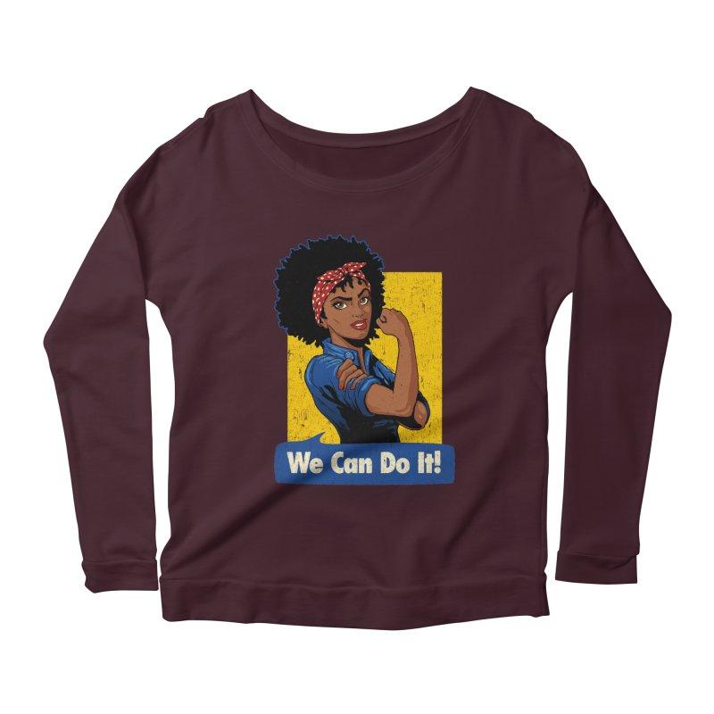 We Can Do It! V2 Women's Longsleeve Scoopneck  by Vó Maria's Artist Shop