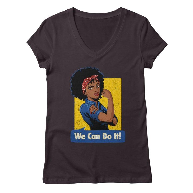 We Can Do It! V2 Women's Regular V-Neck by Vó Maria's Artist Shop