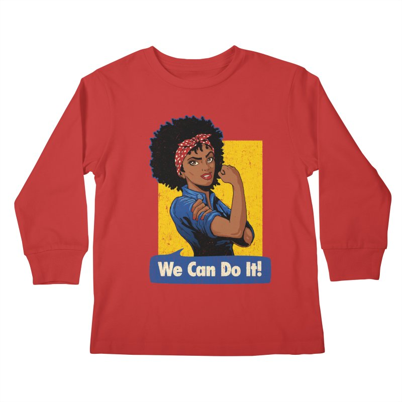 We Can Do It! V2 Kids Longsleeve T-Shirt by Vó Maria's Artist Shop