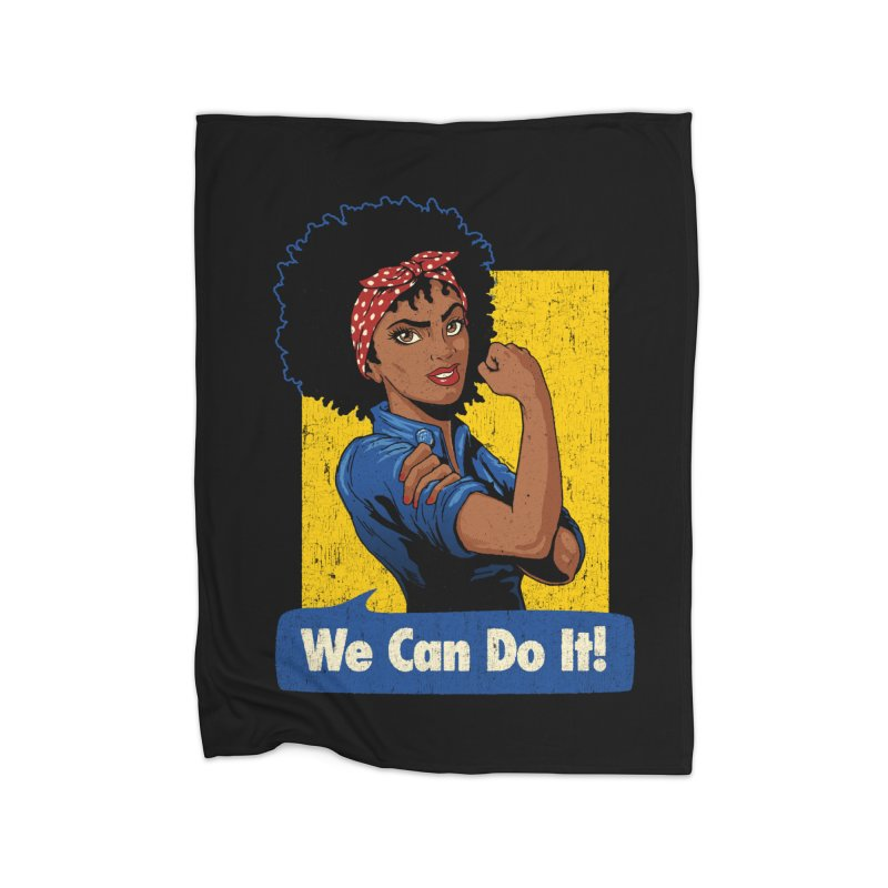 We Can Do It! V2 Home Fleece Blanket Blanket by Vó Maria's Artist Shop