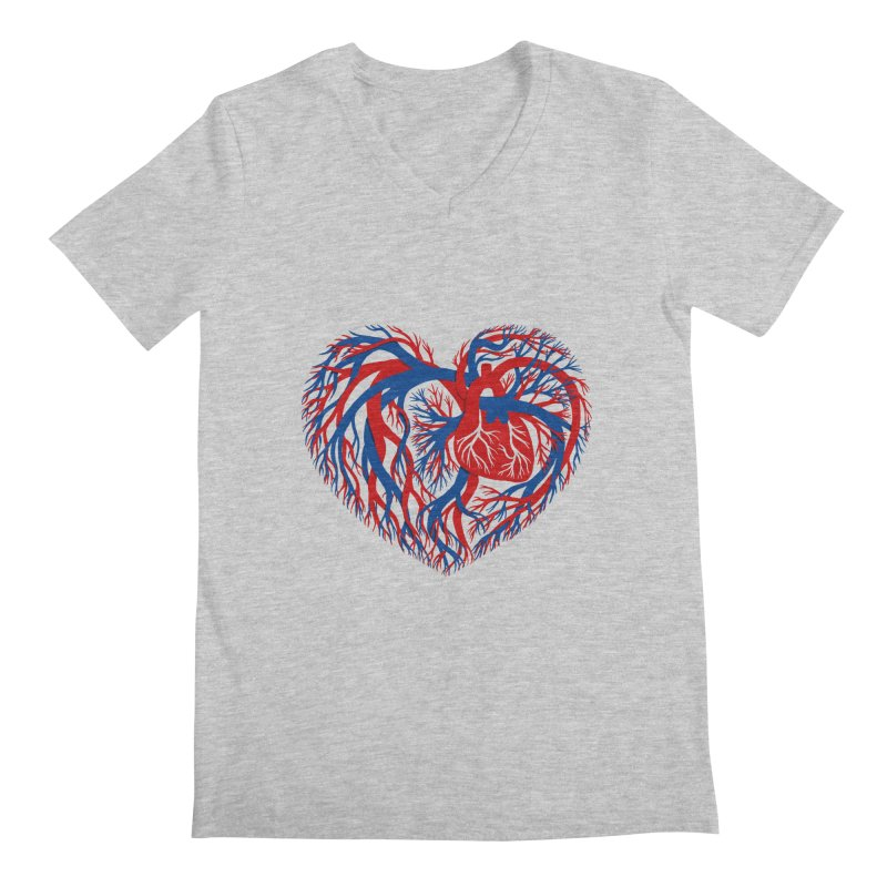 All Heart Men's Regular V-Neck by vonbrandis's Artist Shop