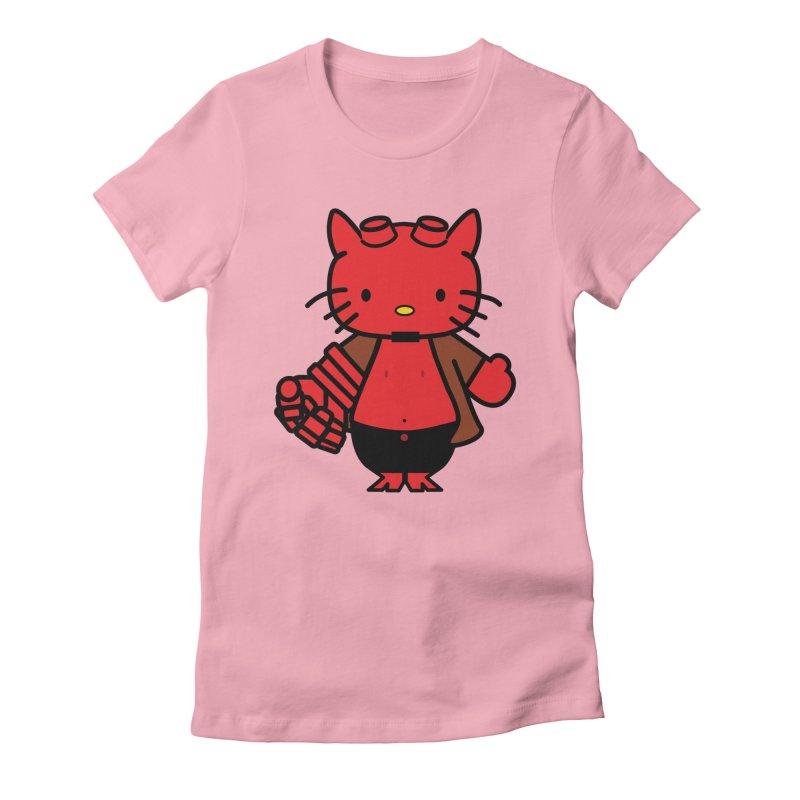 HELL KITTY Women's Fitted T-Shirt by Von Grey's Artist Shop