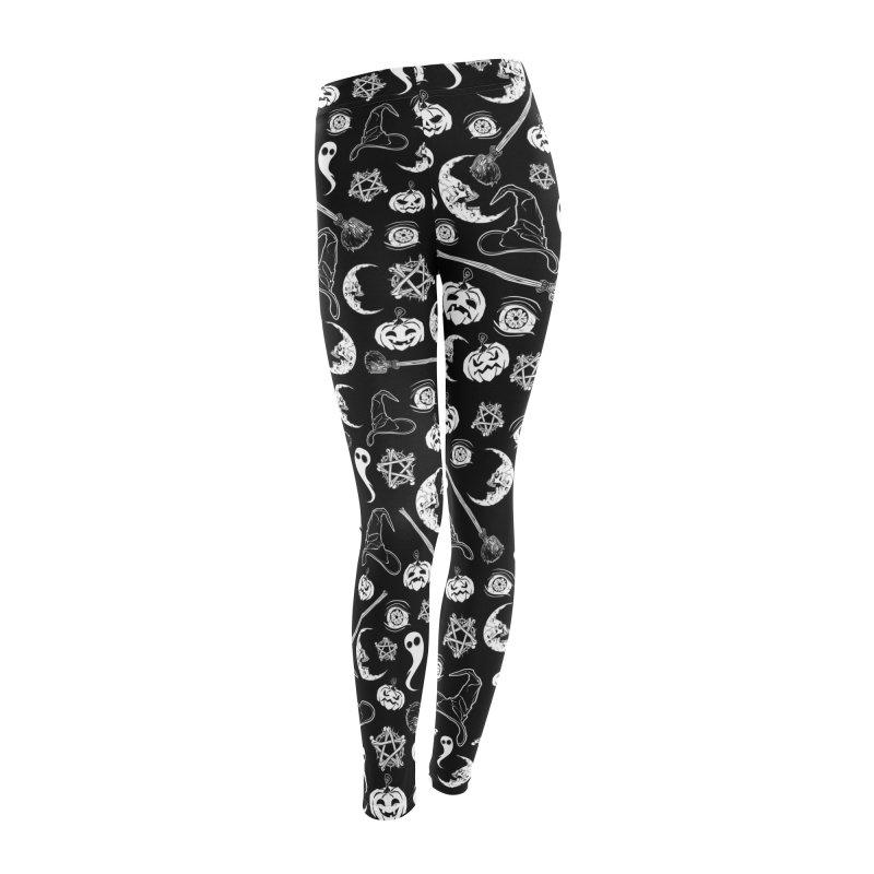 Creepy spooky Halloween pattern Women's Leggings Bottoms by von Kowen's Shop