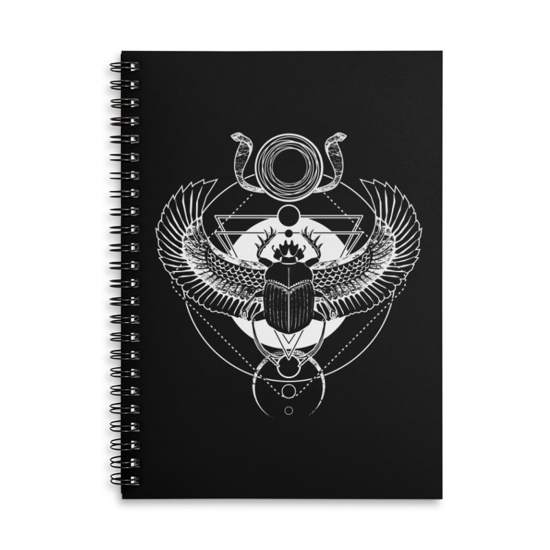 Winged scarab and the Sun disc Accessories Lined Spiral Notebook by von Kowen's Shop