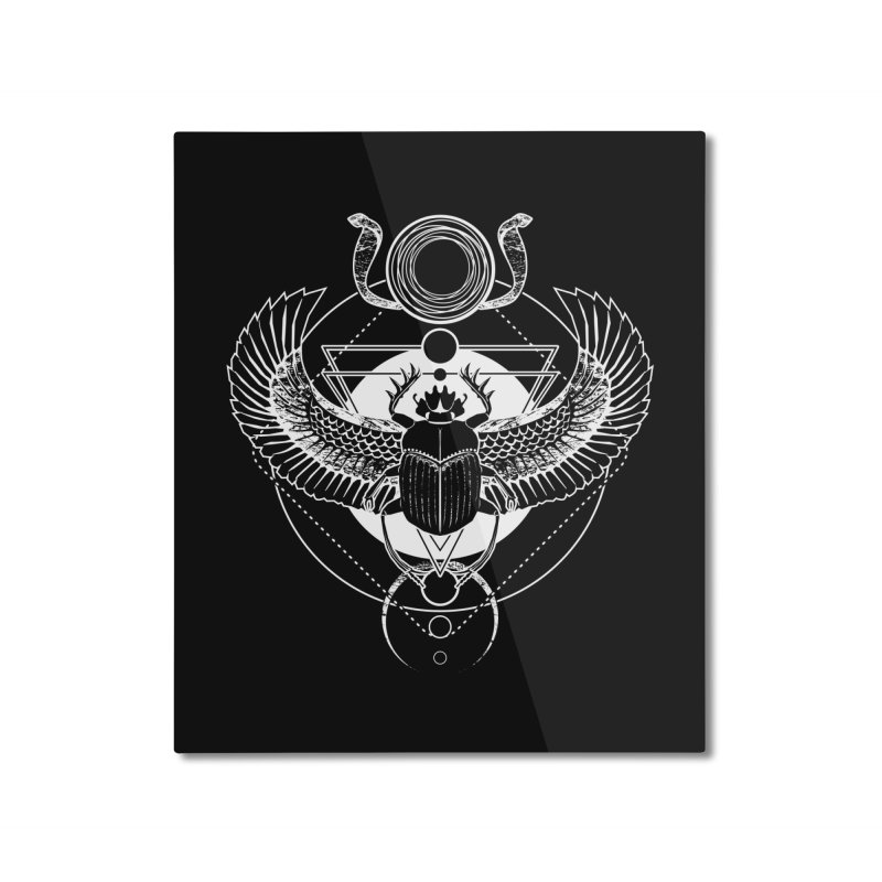 Winged scarab and the Sun disc Home Mounted Aluminum Print by von Kowen's Shop