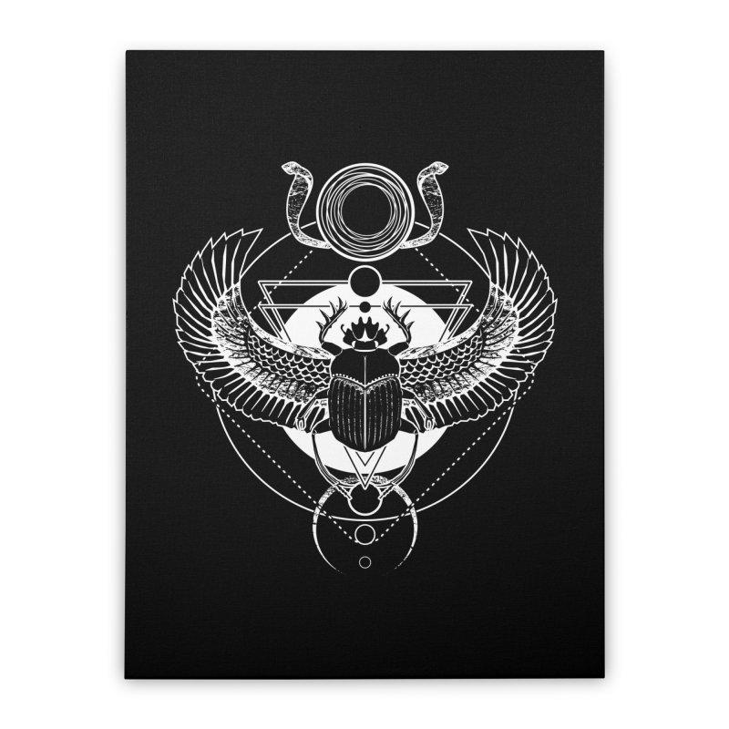 Winged scarab and the Sun disc Home Stretched Canvas by von Kowen's Shop