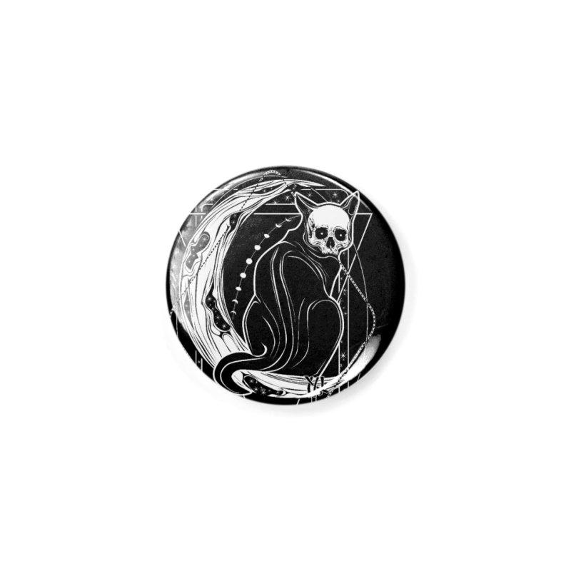 Cat Daemon sitting on the Moon Accessories Button by von Kowen's Shop