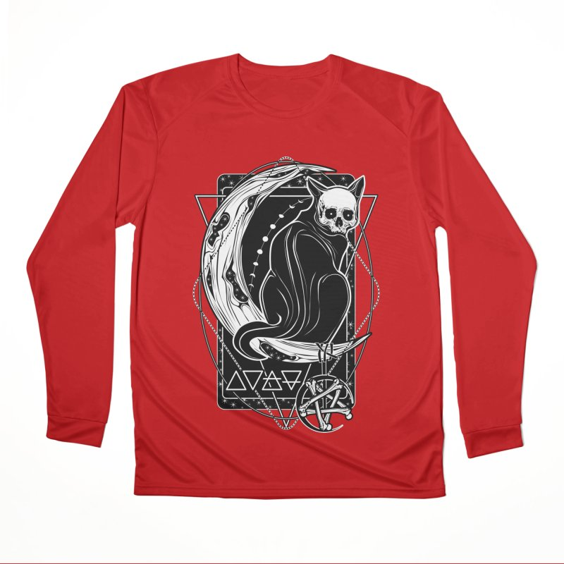Cat Daemon sitting on the Moon Women's Performance Unisex Longsleeve T-Shirt by von Kowen's Shop