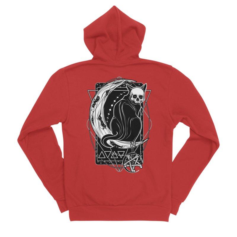 Cat Daemon sitting on the Moon Men's Zip-Up Hoody by von Kowen's Shop
